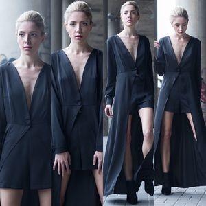Black Maxi Dress With High Waist Short
